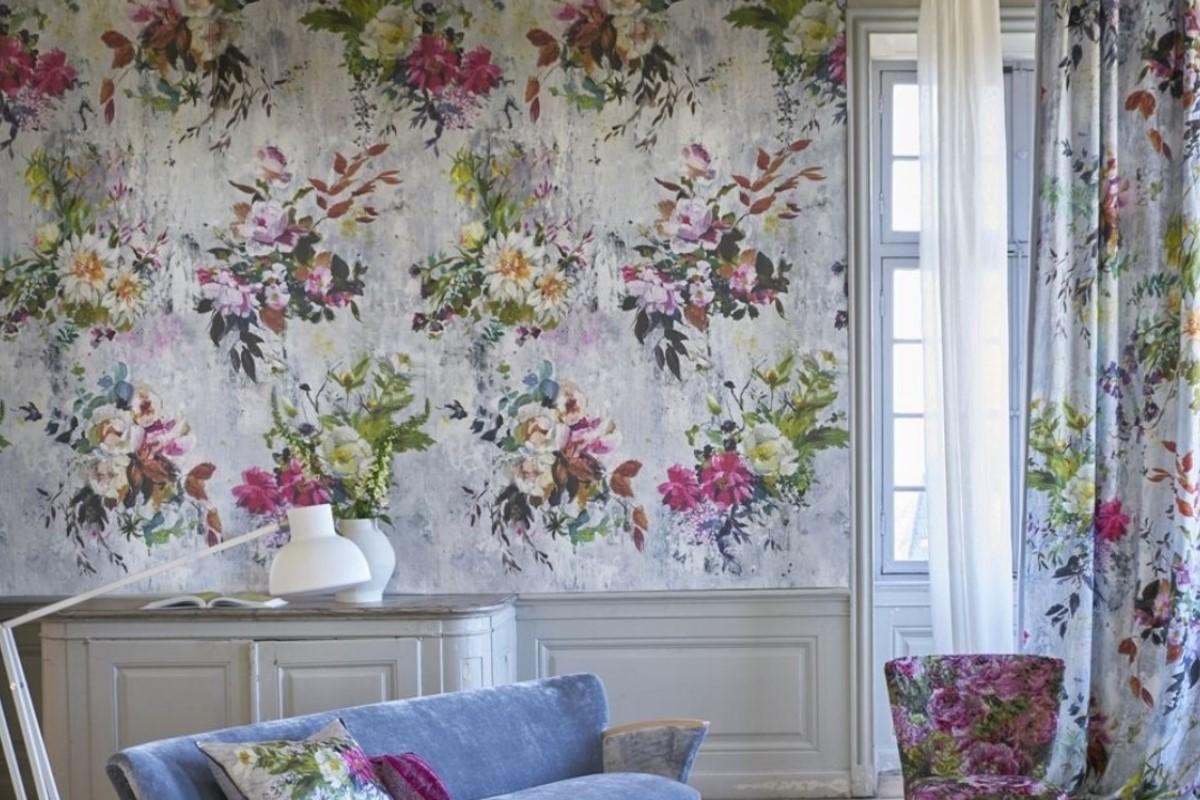 decoracion flores papel pintado
